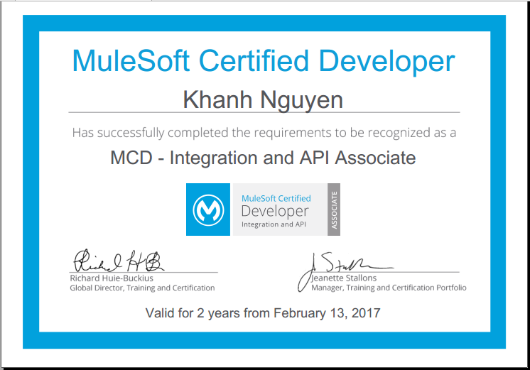 MuleSoft Certified Developer - Integration and API Associate