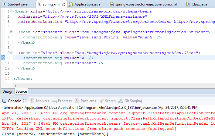 Talking more about Constructor Injection in Spring using XML file
