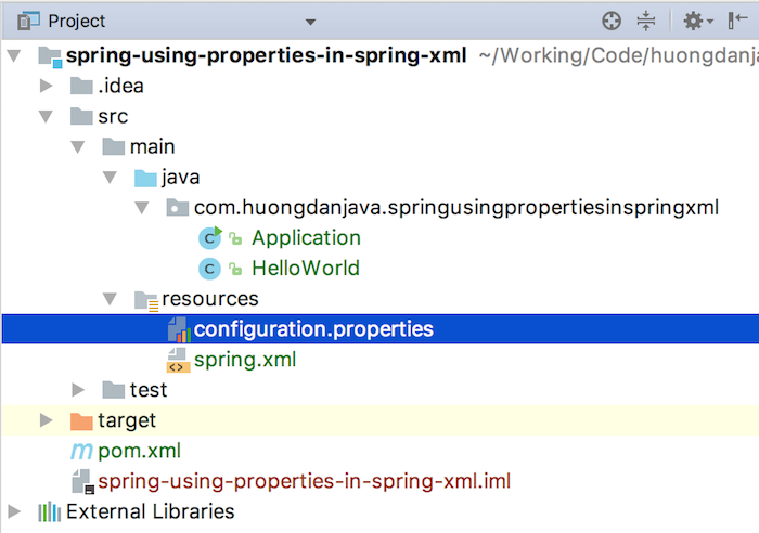 Using properties in Spring configuration file
