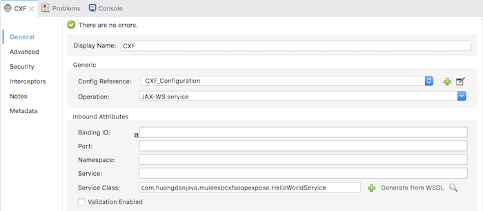 Expose SOAP Web Service using CXF component in Mule ESB