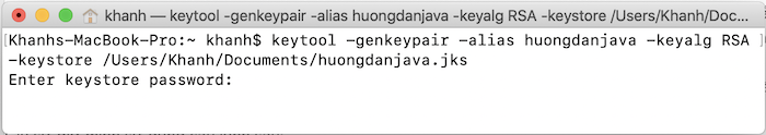 Generate keystore using keytool in Java - Huong Dan Java