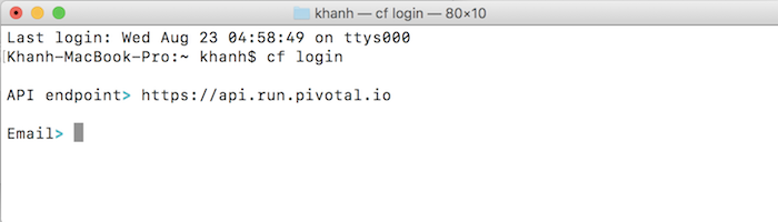 Login into Pivotal Cloud Foundry