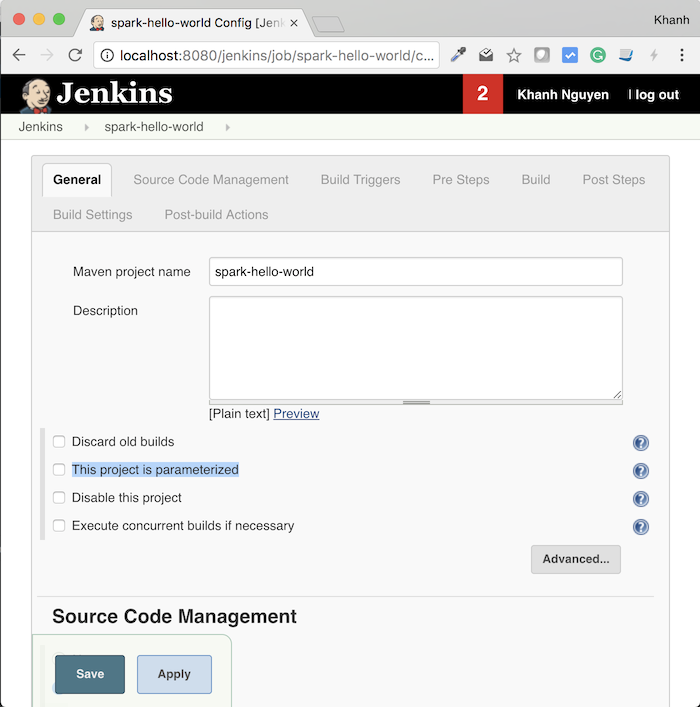 Build with Parameters in Jenkins
