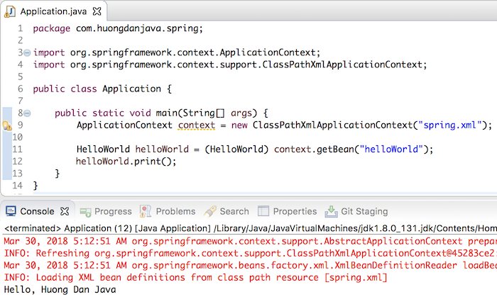Read properties files in Spring using @PropertySource annotation