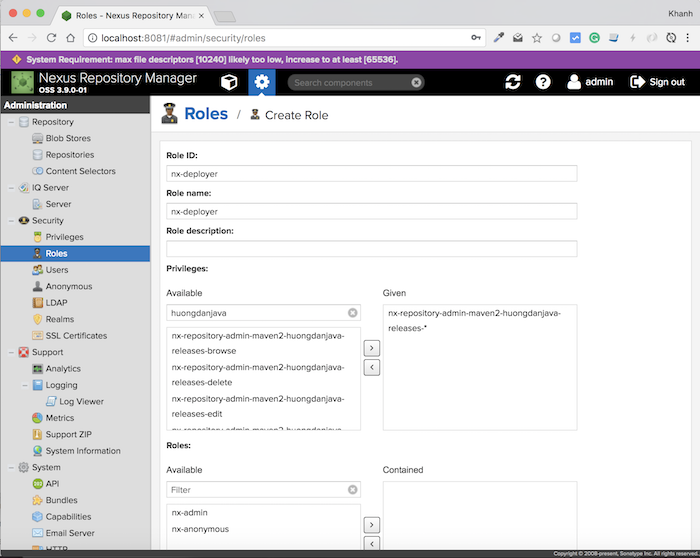Create Role in Nexus Repository Manager