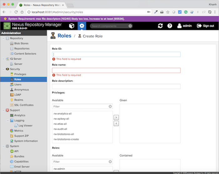 Tạo mới Role trong Nexus Repository Manager