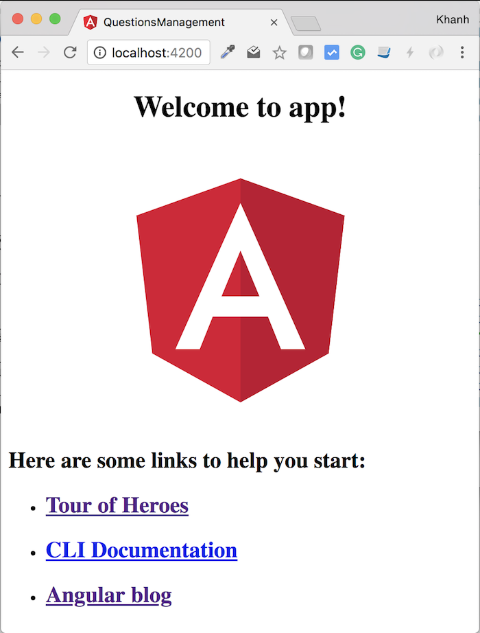 Questions Management - Frontend - Create frontend Angular project using Angular CLI
