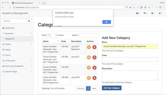 Questions Management – Frontend – Build adding new category using Angular