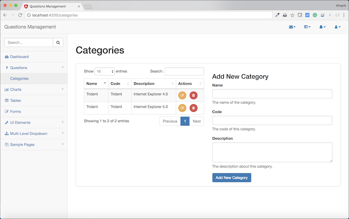 Questions Management - Frontend - Build interface for the Categories using Angular Module, Angular Component