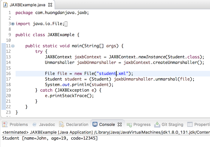 Convert XML file content to Java object using JAXB
