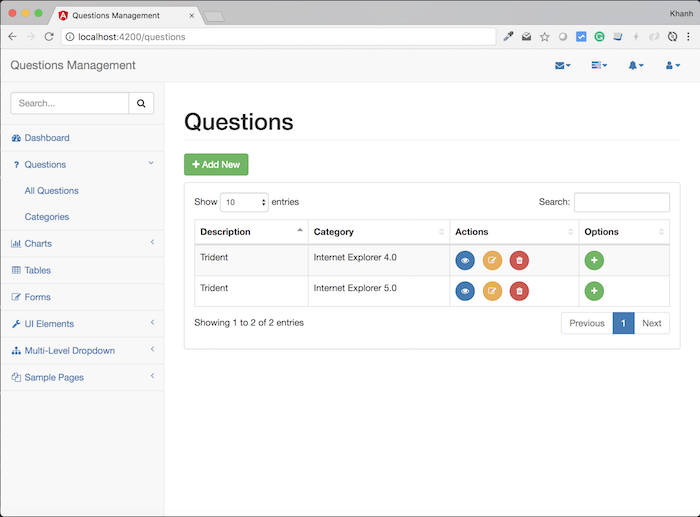 Questions Management – Frontend – Build interface shows all questions using Angular and Bootstrap