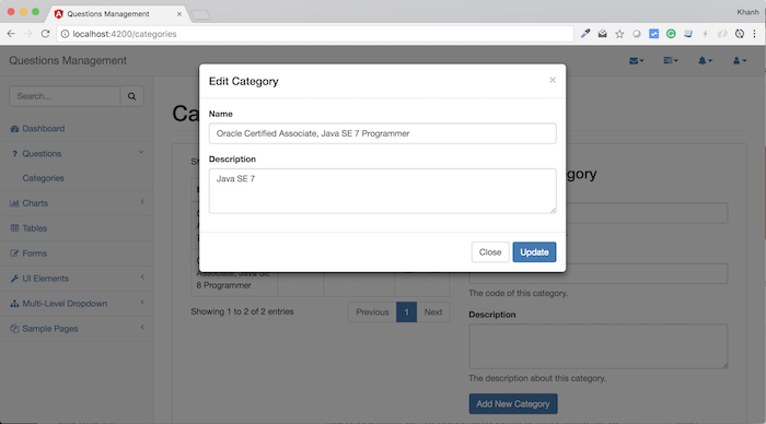 Questions Management – Frontend – Build updating category using Angular