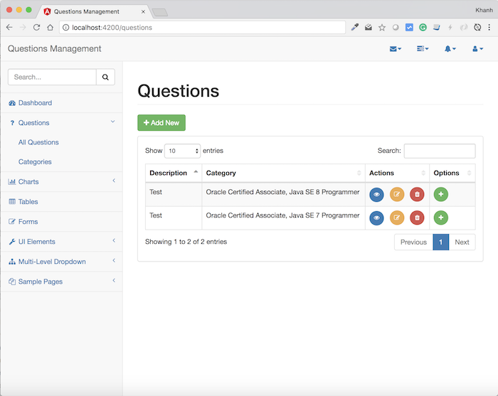 Questions Management – Frontend – Build the display content of a question using Angular, Bootstrap