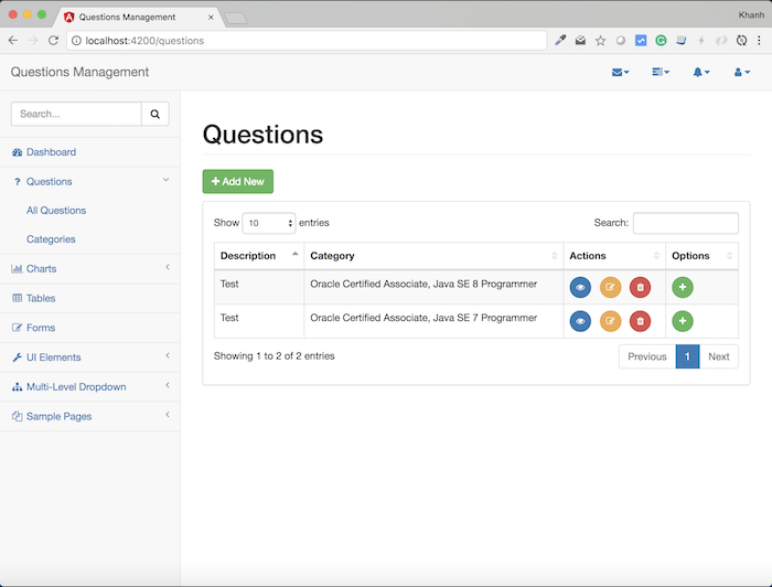 Questions Management – Frontend – Build the display all questions using Angular