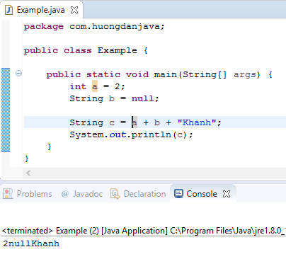 Concatenation operator and String object in Java