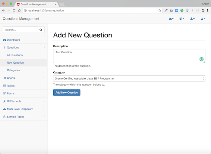 Questions Management – Frontend – Build adding new question using Angular