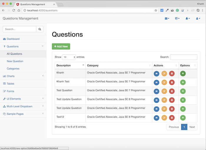 Questions Management – Frontend – Build the interface for adding new option using Angular, Bootstrap
