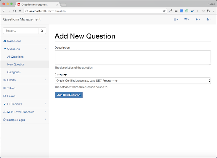 Questions Management – Frontend – Build the interface for adding new question using Angular, Bootstrap