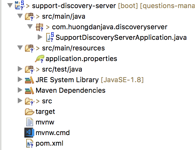Questions Management - Initialize support-discovery-server project using the Spring Tool Suite