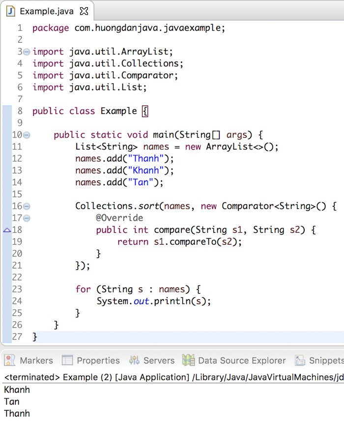 Use Lambda Expression to sort elements of a List in Java