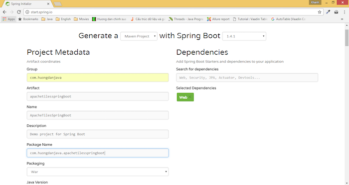 Using Apache Tiles in Spring Boot