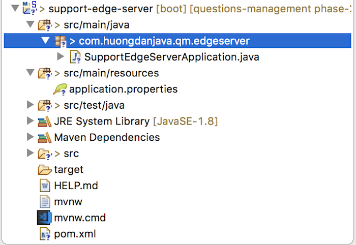 Questions Management – Support Edge Server – Initialize support-edge-server project using Spring Tool Suite