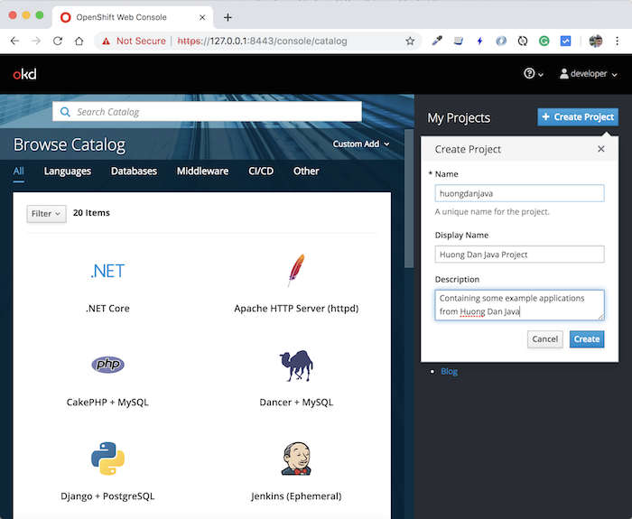 Create new project in OpenShift using oc client tool or web console