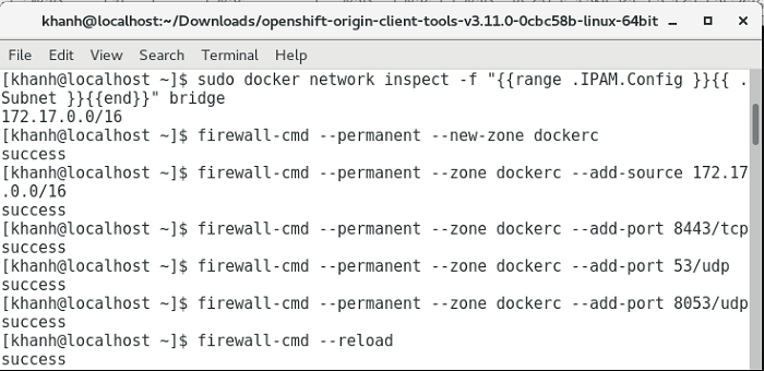 Install OpenShift using Docker and oc tool on CentOS