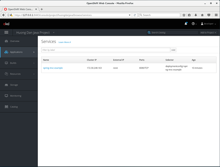 Deploy application in OpenShift using web console