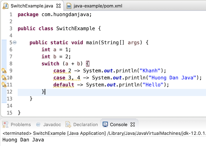 Switch statement in Java