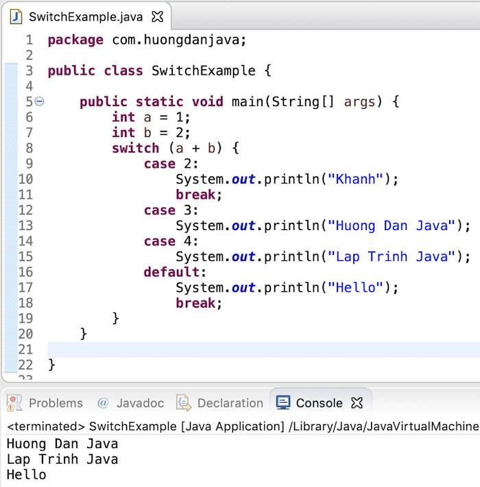 Switch statement trong Java